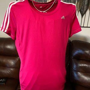 Women Adidas short sleeve pink shirt size large